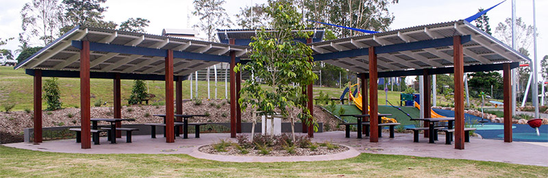 Outdoor Structures Australia - Custom design showing three modified Lindsay series park shelters